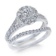 1-1/2 Ctw Diamond Cluster Bridal Set In 14k White Gold Christmas Special