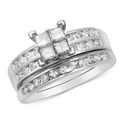 1ct Diamond Quad Bridal Set In 14k White Gold For Christmas Special
