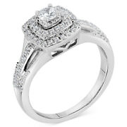 Diamond Square Halo Bridal Set 5/8cttw In 14k White Gold Christmas Special
