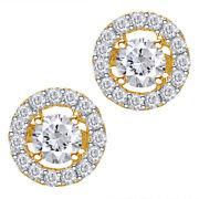 0.50 Ct Natural Diamond Halo Stud Earrings In 14k Yellow Gold Christmas Special