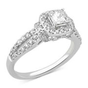 1.00 Cttw Diamond Halo Engagement Ring In 14k White Gold Christmas Special