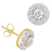 1 Ctt Round Natural Diamond Halo Stud Earrings 14k Yellow Gold Christmas Special