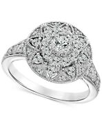 1.00 Cttw Diamond Filigree Halo Engagement Ring 14k White Gold Christmas Special