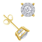 1 Cttw Diamond Halo Two-level Stud Earrings 14k Yellow Gold Christmas Special