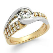 7/8 Ctw Diamond Two-row Engagement Ring In 14k Yellow Gold Christmas Special