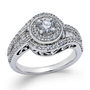 1-1/4 Ct Diamond Swirl Engagement Ring In 14k White Gold Christmas Special