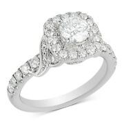1.5 Ctt Natural Diamond Halo Engagement Ring 14k White Gold For Womenand039s Special