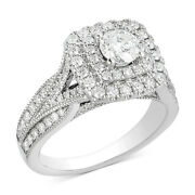 1-1/2ct Diamond Elevated Halo Wedding Ring 14k White Gold For Christmas Special