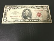 1963 5 Lincoln Bill Red Seal Vintage Currency Dc Old Usa Currency 5834a