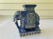 Vintage Hand Painted Blue Ceramic Elephant Plant Stand 8 3/4 In. Tall