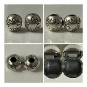Pandora Pair Of Logo Ball Clips Ref 791015 S925 Ale Discontinued Rrp £60.00