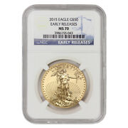 2015 50 Eagle Ngc Ms70 Early Releases Er American Gold Bullion 1 Oz 22kt Coin