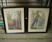 Two Vintage 1950s Japanese Watercolor Paintings-signed Saito-framed And Matted-nr