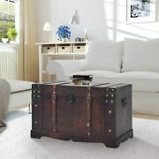 Wooden Treasure Chest Kit Storage Trunk Coffee Table Large Organizer Box