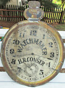 Rare Antique Business Sign H.r. Conser Watchmaker Late 1800s Pocket Watch