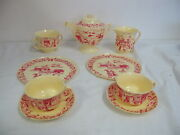 Vintage Worcester Ware Toy Life Size Teaset 9 Pcs 1960and039s Red Dapol Plastics