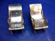 Pair Of Miniature Antique Silverplate Rocking Chairs - No Mark