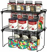 Cabinet Shelf Organizers Kitchen Counter Shelves, Stackable, Expandable, 2 Pack