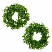 Artificial Boxwood Wreaths For Farmhouse Front Door Window 12 In 2 Pack