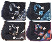 Abstract Painting Designs English Saddle Pad Set Fly Veil Horse Ear Net Bonnet