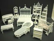 Victorian Dollhouse White Wire Metal Set Of 11 Pieces Of Furniture Vintage