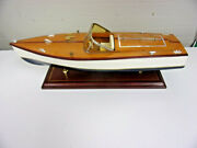 Vintage 19 1/2 Long Chris Craft Wood Boat Speedboat Model And Display Stand