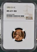 Small Cents Lincoln Wheat Ears Reverse 1951 D Ngc Ms-67+ Rd
