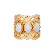 Opal Wide Band Cigar Ring 3/4 Vintage 14k Yellow Gold Sz 6.5 Estate Jewelry