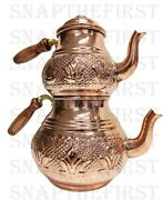 Turkish Arabic Copper Teapot Hand Made And Hammered Authentic Tea Maker Tea Kettle