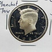 2007 S Silver Kennedy Half Dollar Coin Laminated String Planchet Flaw Obverse