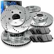 For 2008-2011 Mercedes-benz C300 Front Rear Drilled Brake Rotors+semi-met Pads