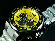 Mens 52mm Grand Pro Diver Ocean Voyager Chronograph Yellow Dial Ss Watch