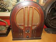 Vintage 1934 Philco 84 Cathedral Tube Radio Baby Grand Wooden Antique