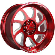 5-offroad Monster M22 22x12 5x5 -44mm Candy Red Wheels Rims 22 Inch Jeep Jk Jl