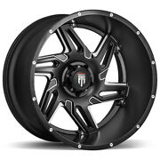 4-american Truxx At186 Spurs 22x12 6x5.5 -44mm Black/milled Wheels Rims 22 Inch