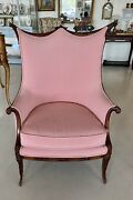 Charming Antique French Gingham Upholstery Wingback Chair Pickup Only