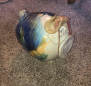 Whimsical Piggy Bank With Cowboy Hat Hand-glazed Pottery Large 8andrdquo X 7andrdquo Absract