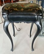 Victorian Antique Black Painted Floral Sewing / Jewelry Chest Table Pickup Only