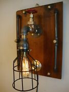 Steampunk Lamp Wall Sconce-industrial Edison Bulb Brass Valve Black Bulb Cage