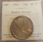 1967 Canada Silver 50 Cents Iccs Ms 65 Gem Double Struck