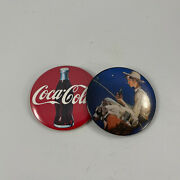 Pair Of Vintage 1991 Advertising Promotional Coca Cola Round Pocket Mirrors