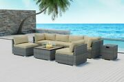Modenzi 8pc Grey Wicker Outdoor Patio Furniture With Square Fire Pit Light Beige