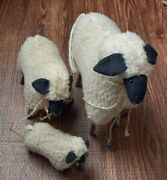 Handcrafted Wooly Family Sheep Figures - Papa, Mama And Lamb- White/black Face