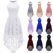 Womens Halter Floral Lace Prom Gown Maxi Dress Wedding Bridesmaid Formal Dresses