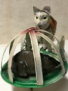 German Mechanical 10 Tin Toy Cat Chasing Mouse In Cage-c. 1910/1920 Gunthermann