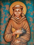 Icon Holy San Francesco D'assisi Hand-painted On Wooden
