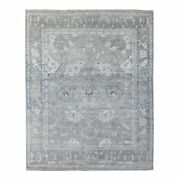 8and039x9and0399 Hand Knotted Light Gray Pliable Wool Angora Oushak Oriental Rug R67435