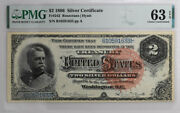 1886 2 Silver Certificate Fr242 Pmg Choice Uncirculated 63 Epq Banknote