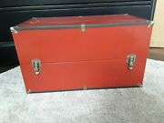 Vintage Red Doll Box Travel Steamer Trunk Metal 20 Inch W/3 Drawers