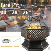 Wood Burning Fire Pit Outdoor Heater Backyard Patio Stove Fireplace W/cover Us
